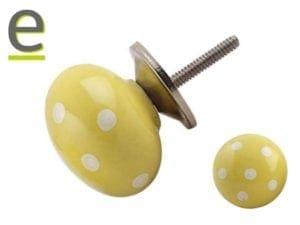 pomelli gialli pois, pomelli a pois, pomelli per mobili, pomelli per armadio