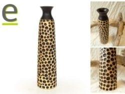 vaso artigianale in legno, vaso di legno