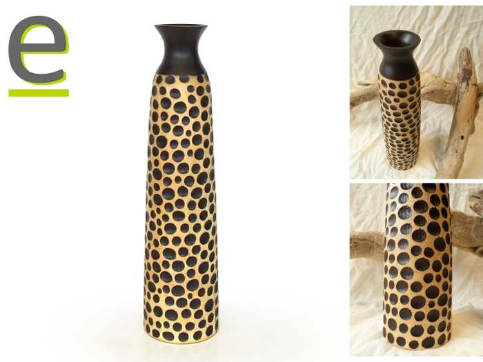 vaso artigianale, vaso di legno