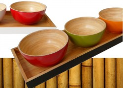 bambù, ciotole di bamboo, vassoi di bambù