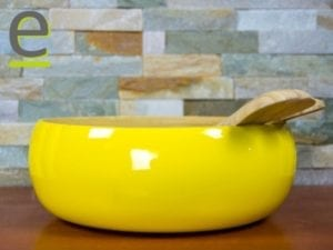 set insalata, bambù, scodella bambù