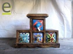 contenitore per spezie, portaspezie legno, portaspezie indiano, portaspezie di ceramica