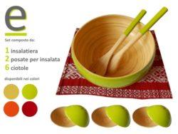 insalatiera con ciotole, bambù